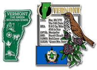 Vermont State Montage and Small Map Magnet Set by Classic Magnets, 2-Piece Set, Collectible Souvenirs Made in the USA