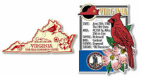 Virginia State Montage and Small Map Magnet Set by Classic Magnets, 2-Piece Set, Collectible Souvenirs Made in the USA