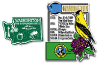 Washington State Montage and Small Map Magnet Set by Classic Magnets, 2-Piece Set, Collectible Souvenirs Made in the USA
