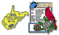 West Virginia State Montage and Small Map Magnet Set by Classic Magnets, 2-Piece Set, Collectible Souvenirs Made in the USA