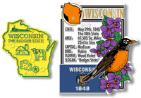 Wisconsin State Montage and Small Map Magnet Set by Classic Magnets, 2-Piece Set, Collectible Souvenirs Made in the USA