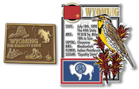 Wyoming State Montage and Small Map Magnet Set by Classic Magnets, 2-Piece Set, Collectible Souvenirs Made in the USA