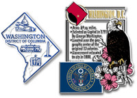 Washington, D.C. Montage and Small Map Magnet Set by Classic Magnets, 2-Piece Set, Collectible Souvenirs Made in the USA