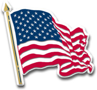 American Flag Magnet (Waving) by Classic Magnets, Collectible Souvenirs Made in the USA