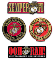 U.S. Marine Corps Magnet Set by Classic Magnets, 4-Piece Set, Collectible Souvenirs Made in the USA
