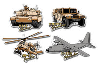 U.S. Army Vehicle Magnet Set by Classic Magnets, 4-Piece Set, Collectible Souvenirs Made in the USA