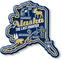 """Alaska Premium State Magnet by Classic Magnets, 2.7"""" x 2.6"""", Collectible Souvenirs Made in the USA"""
