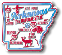 """Arkansas Premium State Magnet by Classic Magnets, 2.3"""" x 2.1"""", Collectible Souvenirs Made in the USA"""