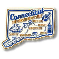 """Connecticut Premium State Magnet by Classic Magnets, 2.6"""" x 2"""", Collectible Souvenirs Made in the USA"""