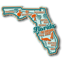 """Florida Premium State Magnet by Classic Magnets, 3.4"""" x 2.9"""", Collectible Souvenirs Made in the USA"""
