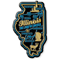 """Illinois Premium State Magnet by Classic Magnets, 1.8"""" x 3"""", Collectible Souvenirs Made in the USA"""