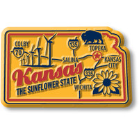 """Kansas Premium State Magnet by Classic Magnets, 2.6"""" x 1.6"""", Collectible Souvenirs Made in the USA"""