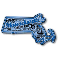 """Massachusetts Premium State Magnet by Classic Magnets, 3.5"""" x 2"""", Collectible Souvenirs Made in the USA"""