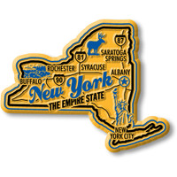 """New York Premium State Magnet by Classic Magnets, 3.1"""" x 2.5"""", Collectible Souvenirs Made in the USA"""