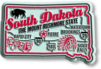 """South Dakota Premium State Magnet by Classic Magnets, 2.6"""" x 1.7"""", Collectible Souvenirs Made in the USA"""