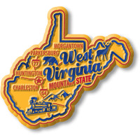 """West Virginia Premium State Magnet by Classic Magnets, 2.9"""" x 2.7"""", Collectible Souvenirs Made in the USA"""