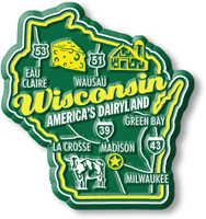 """Wisconsin Premium State Magnet by Classic Magnets, 2.3"""" x 2.5"""", Collectible Souvenirs Made in the USA"""
