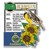 """Kansas State Montage Magnet by Classic Magnets, 2.9"""" x 3.2"""", Collectible Souvenirs Made in the USA"""