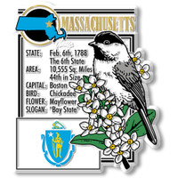"""Massachusetts State Montage Magnet by Classic Magnets, 2.7"""" x 3.2"""", Collectible Souvenirs Made in the USA"""