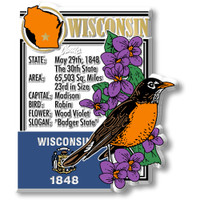 """Wisconsin State Montage Magnet by Classic Magnets, 2.9"""" x 3.3"""", Collectible Souvenirs Made in the USA"""