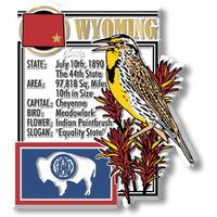 """Wyoming State Montage Magnet by Classic Magnets, 3"""" x 3.3"""", Collectible Souvenirs Made in the USA"""