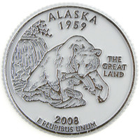 Alaska State Quarter Magnet by Classic Magnets, Collectible Souvenirs Made in the USA