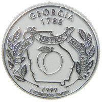 Georgia State Quarter Magnet by Classic Magnets, Collectible Souvenirs Made in the USA