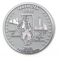 Illinois State Quarter Magnet by Classic Magnets, Collectible Souvenirs Made in the USA