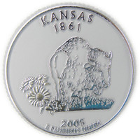 Kansas State Quarter Magnet by Classic Magnets, Collectible Souvenirs Made in the USA