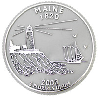 Maine State Quarter Magnet by Classic Magnets, Collectible Souvenirs Made in the USA