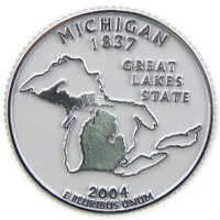 Michigan State Quarter Magnet by Classic Magnets, Collectible Souvenirs Made in the USA