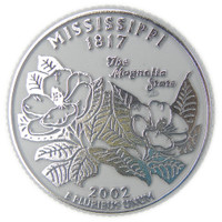 Mississippi State Quarter Magnet by Classic Magnets, Collectible Souvenirs Made in the USA