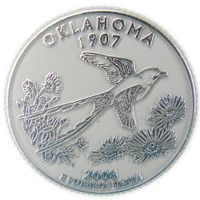 Oklahoma State Quarter Magnet by Classic Magnets, Collectible Souvenirs Made in the USA
