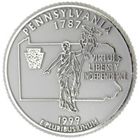 Pennsylvania State Quarter Magnet by Classic Magnets, Collectible Souvenirs Made in the USA