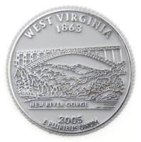 West Virginia State Quarter Magnet by Classic Magnets, Collectible Souvenirs Made in the USA