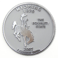 Wyoming State Quarter Magnet by Classic Magnets, Collectible Souvenirs Made in the USA