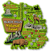Black Hills National Forest Jumbo Map Magnet by Classic Magnets, Regional America Series, Collectible Souvenirs Made in the USA