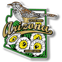 Arizona State Bird and Flower Map Magnet by Classic Magnets, Collectible Souvenirs Made in the USA