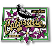 Colorado State Bird and Flower Map Magnet by Classic Magnets, Collectible Souvenirs Made in the USA
