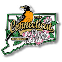 Connecticut State Bird and Flower Map Magnet by Classic Magnets, Collectible Souvenirs Made in the USA