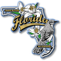 Florida State Bird and Flower Map Magnet by Classic Magnets, Collectible Souvenirs Made in the USA