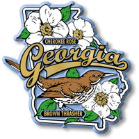 Georgia State Bird and Flower Map Magnet by Classic Magnets, Collectible Souvenirs Made in the USA