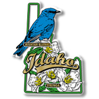 Idaho State Bird and Flower Map Magnet by Classic Magnets, Collectible Souvenirs Made in the USA