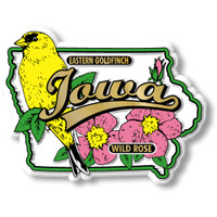 Iowa State Bird and Flower Map Magnet by Classic Magnets, Collectible Souvenirs Made in the USA