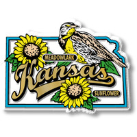 Kansas State Bird and Flower Map Magnet by Classic Magnets, Collectible Souvenirs Made in the USA