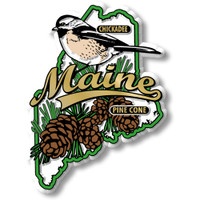 Maine State Bird and Flower Map Magnet by Classic Magnets, Collectible Souvenirs Made in the USA