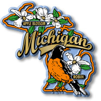 Michigan State Bird and Flower Map Magnet by Classic Magnets, Collectible Souvenirs Made in the USA