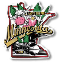 Minnesota State Bird and Flower Map Magnet by Classic Magnets, Collectible Souvenirs Made in the USA