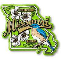 Missouri State Bird and Flower Map Magnet by Classic Magnets, Collectible Souvenirs Made in the USA