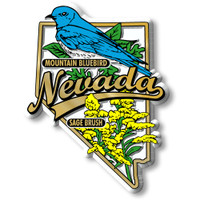 Nevada State Bird and Flower Map Magnet by Classic Magnets, Collectible Souvenirs Made in the USA